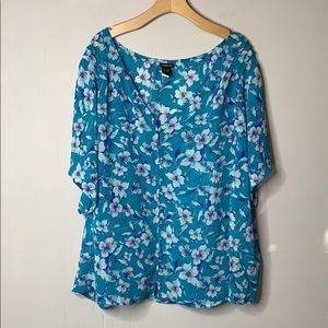 Torrid Floral at Dawn Chiffon Button Front Top